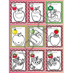 Les pommes ~ coloriage avec modèle