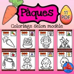 Pâques coloriage selon modèle
