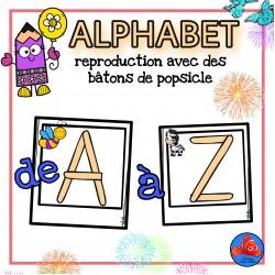 Alphabet reproduction avec des bâtons de popsicle