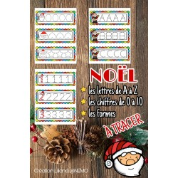 Noël ~L'alphabet, chiffres et formes à tracer
