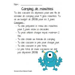 Le camping de monstres 2e cycle (Résoudre C1)