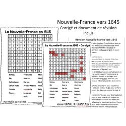 Mots cachés Nouvelle-France en 1645-Univers social