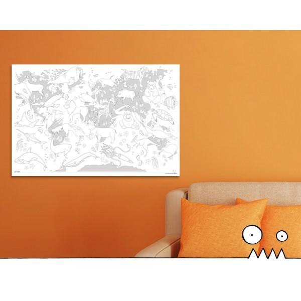 Affiche à colorier - Animaux du monde