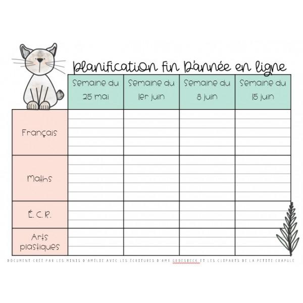 Tableau de planification mai-juin 2020