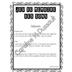 Jeu de mémoire des sons (conscience phonologique)