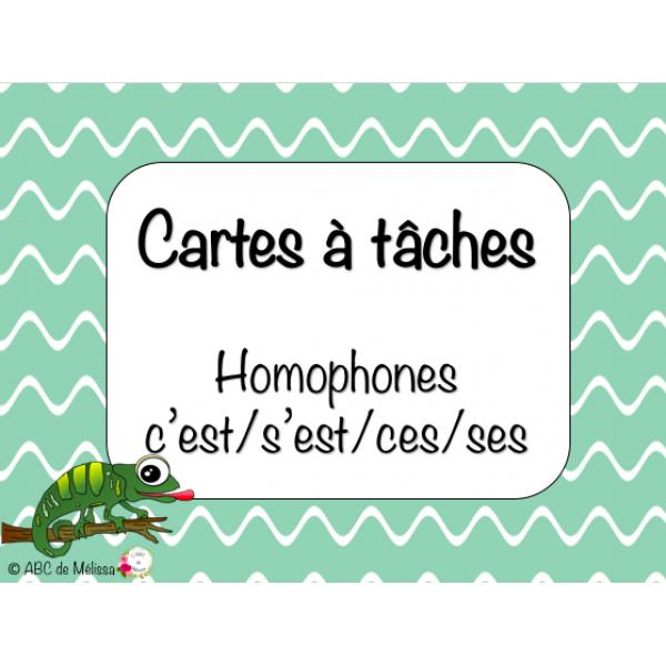 Cartes à tâches : homophones c'est/s'est/ses/ces