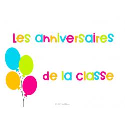 Les anniversaires de la classe