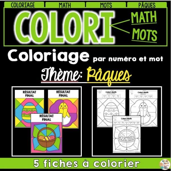 COLORI - MATH ET MOTS - Thème: Pâques
