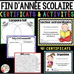Fin d'année scolaire  - activités et certificats