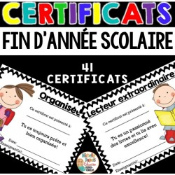 Certificats de fin d'année scolaire