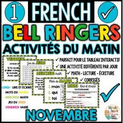 Activités du matin Novembre - 1re année