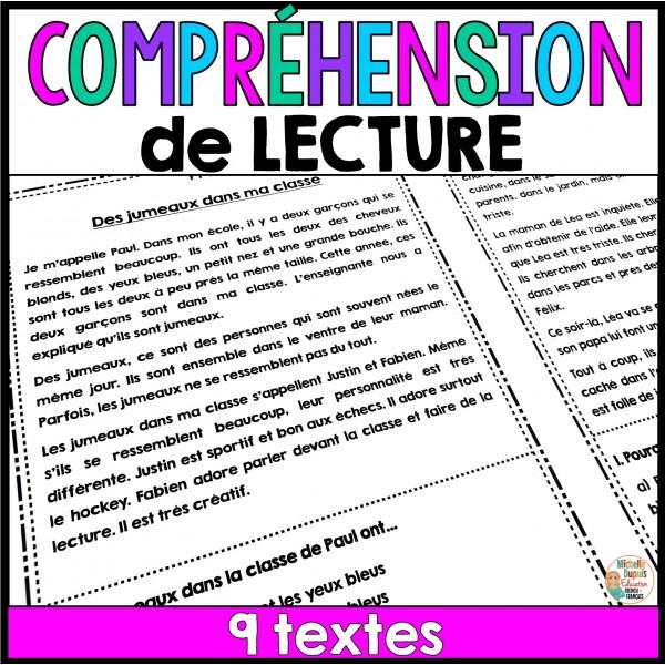 Compréhension de lecture - 9 textes