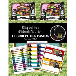 Étiquettes d'identification-Groupe des pandas