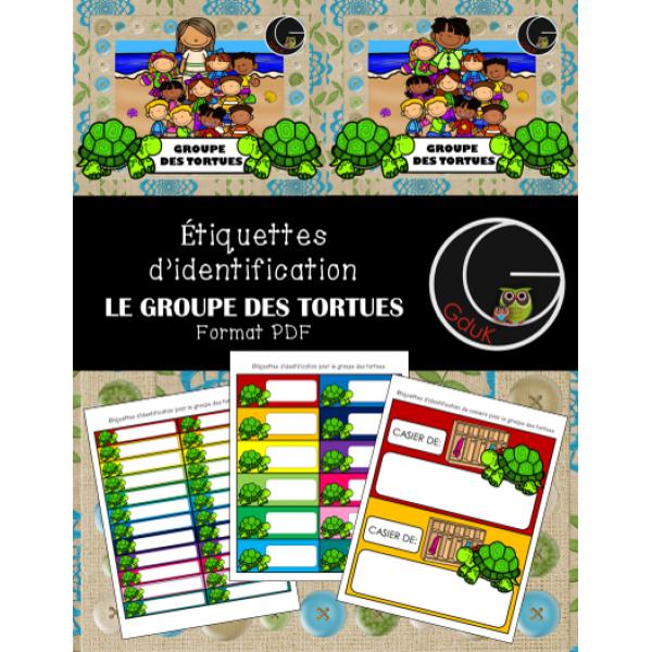 Étiquettes d'identification-Groupe des tortues