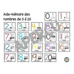 Aide-mémoire nombres 0 à 20 format mini