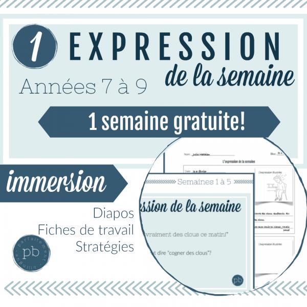 L'expression idiomatique de la semaine (gratuit!)