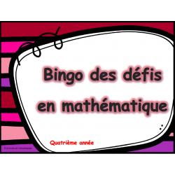 Bingo des défis en mathématique 4e année