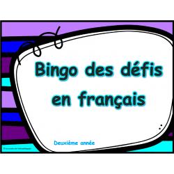 Bingo des défis en français, 2e année