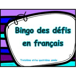 Bingo des défis en français, 3e et 4e année