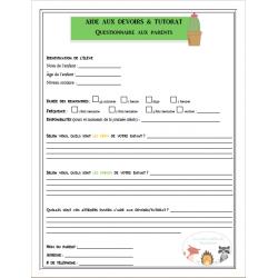 Questionnaire aux parents - Aide aux devoirs