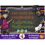 Halloween/Automne Mots-étiquettes (script/cursif)