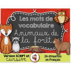 Les animaux de la forêt/Mots-étiquettes
