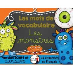 LES MONSTRES / Mots-étiquettes (24 affiches)