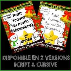 DÉCEMBRE/Petit travail 2e année-script/cursif