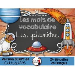 Les planètes/ Mots-étiquettes (24 affiches)