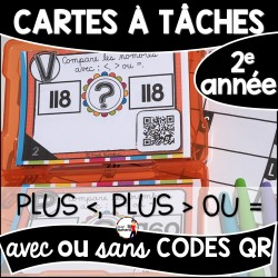 Cartes à Tâches CODES QR (Plus GRAND/PETIT/ÉGAL)
