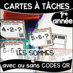 Cartes à Tâches 1re CODES QR/Les Sommes