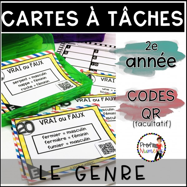 Cartes à Tâches CODES QR (Le genre) 2e année