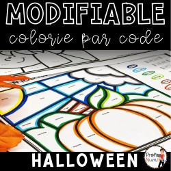 Colorie par code MODIFIABLE/8 dessins HALLOWEEN