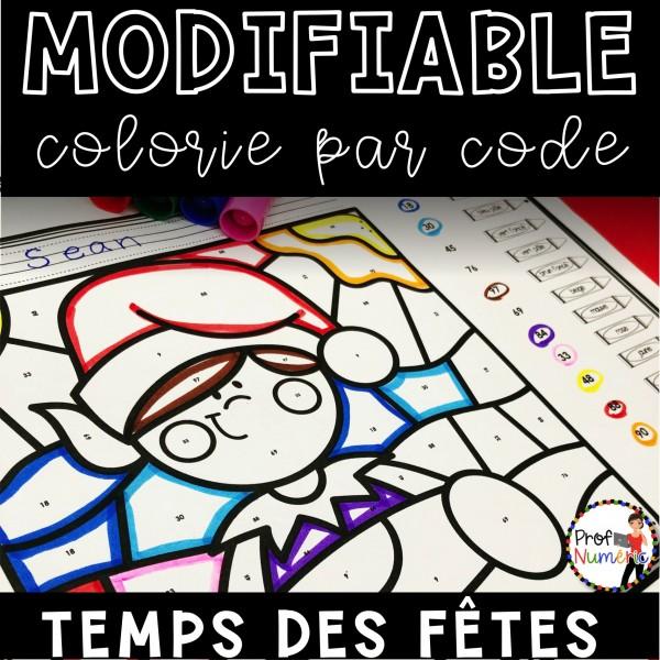 Colorie le code MODIFIABLE/8 dessins DÉCEMBRE