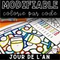 Colorie le code MODIFIABLE/8 dessins JOUR DE L'AN