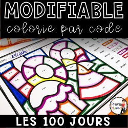 Colorie le code MODIFIABLE/8 dessins LES 100 JOURS