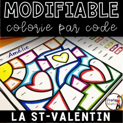 Colorie le code MODIFIABLE/8 dessins ST-VALENTIN