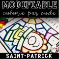 Colorie le code MODIFIABLE/8 dessins ST-PATRICK