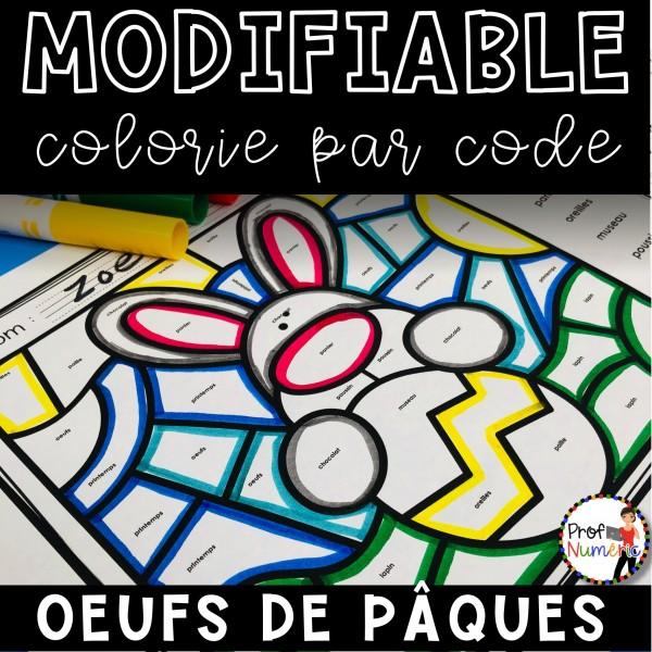 Colorie le code MODIFIABLE/6 dessins PÂQUES