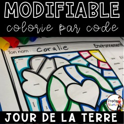 Colorie le code MODIFIABLE/ JOUR DE LA TERRE
