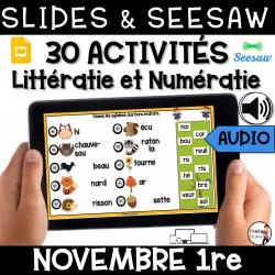 Seesaw + Google Slides - NOVEMBRE - 1re
