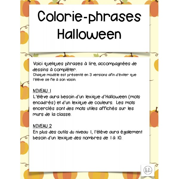 Colorie-phrases d'Halloween