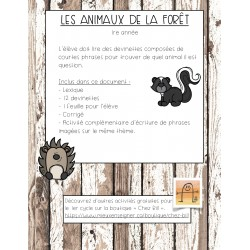 Jeu de lecture, les animaux de la forêt