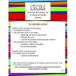L'école; activités de français