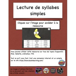 Lecture de syllabes simples Boom Cards