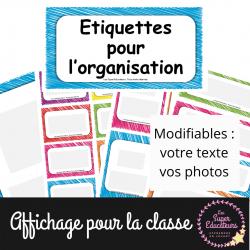 Etiquettes pour l'organisation