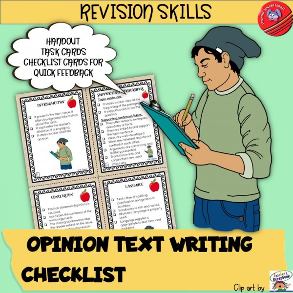 Opinion Text Writing Checklists ESL/ELA