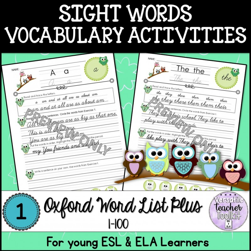 Sight Words Oxford Word List 1-100 Activities