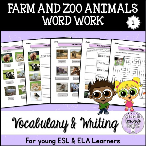 Farm and Zoo Animals Vocabulary Pack 1