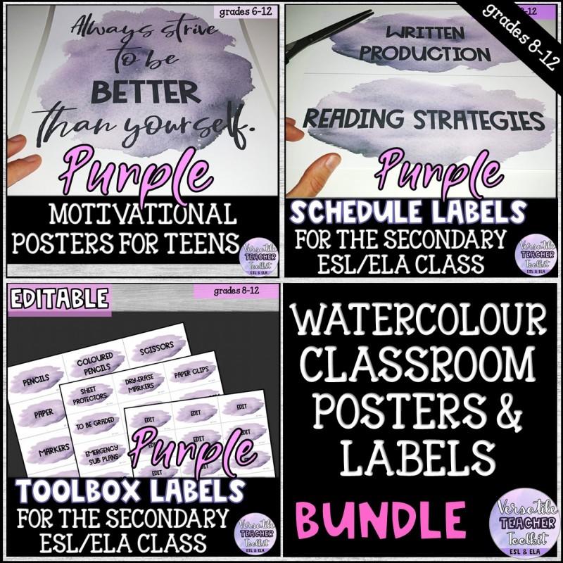 Purple Watercolour Classroom Labels & Posters